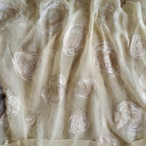 Georgio Armani Creme Silk Stole w Roses Print